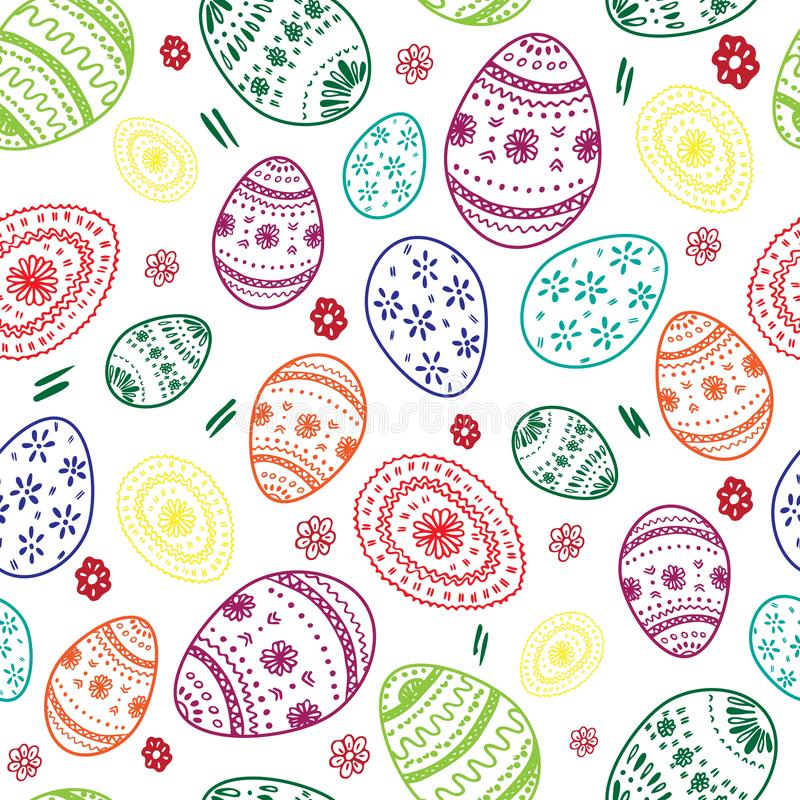 Vector seamless simple pattern with ornamental eggs. vector illustration