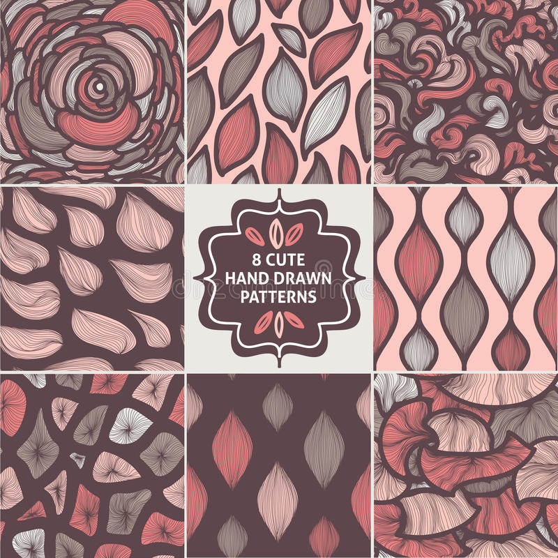 Vector seamless simple pattern set. Modern stylish texture. Repeating abstract background stock illustration