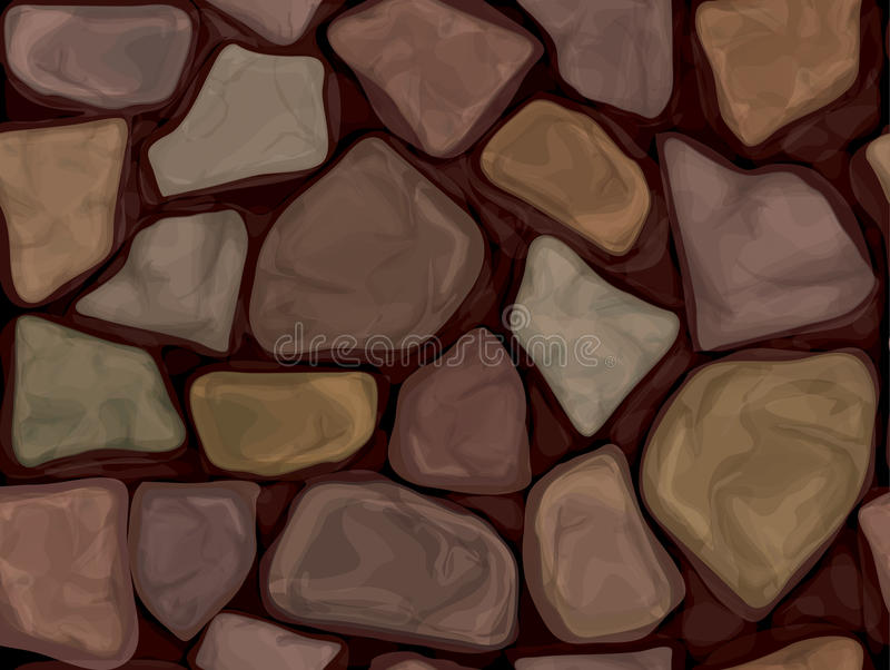 Vector seamless stone texture. Seamless texture brown stones wall vector illustration