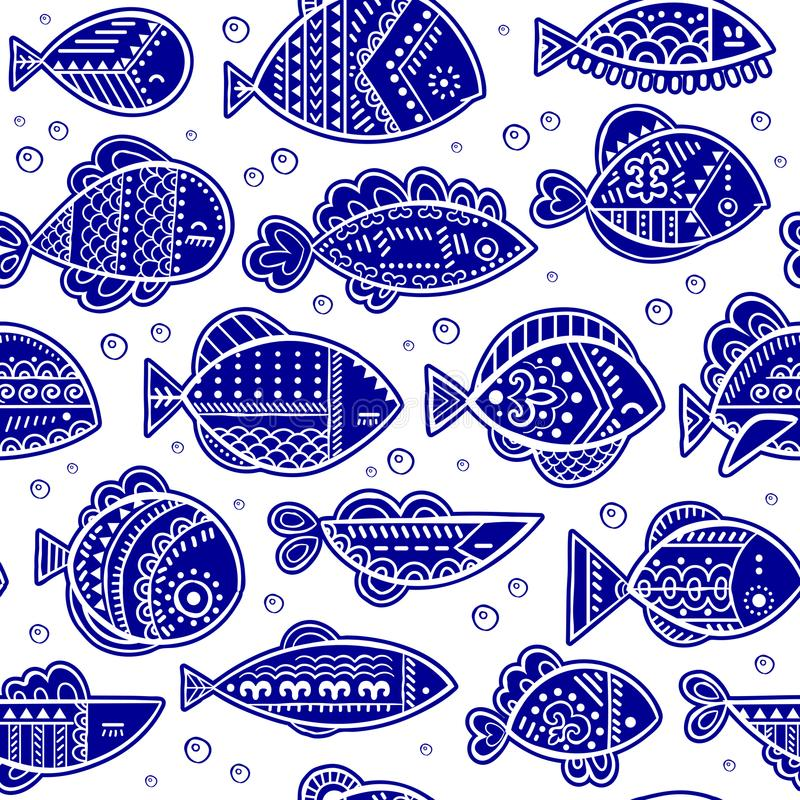 Vector seamless stylized fish pattern stock illustration