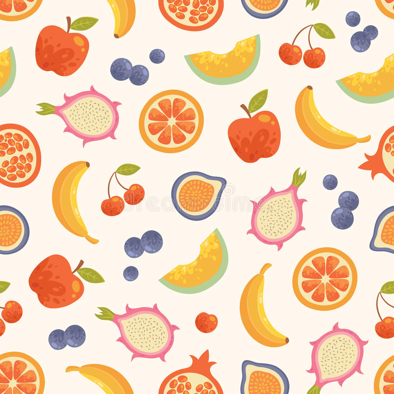Vector seamless summer fruits background. royalty free stock photography