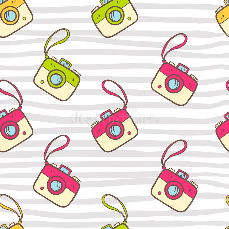 Vector seamless summer pattern with color photo camera. Bright c vector illustration