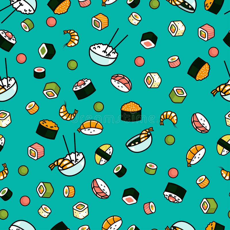 Vector seamless sushi pattern stock illustration
