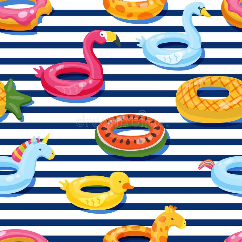Vector seamless swimming pool float rings pattern. Inflatable kids toys background. Design for summer textile print. vector illustration