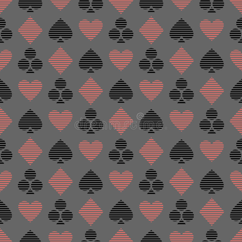 Vector seamless symmetrical pattern with black and red lined playing card symbols on the blue background. royalty free illustration