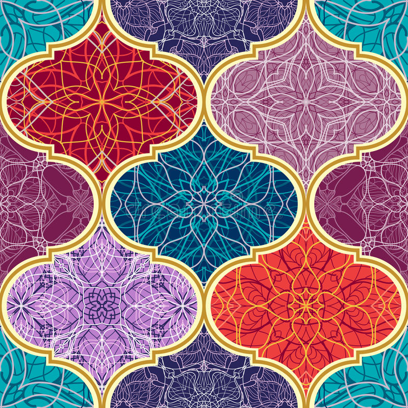 Vector seamless texture. Beautiful mega patchwork mosaic pattern for design and fashion with decorative elements. Arabic, oriental, asian, floral motifs vector illustration