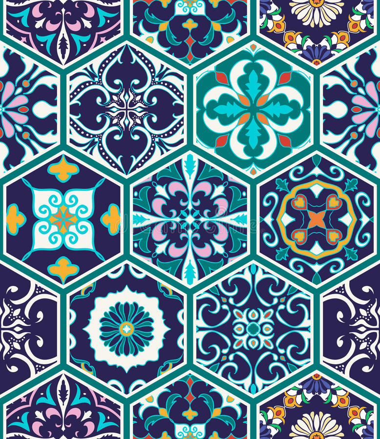 Vector seamless texture. Beautiful mega patchwork pattern for design and fashion with decorative elements. Portuguese tiles, Azulejo, Talavera, Moroccan royalty free illustration