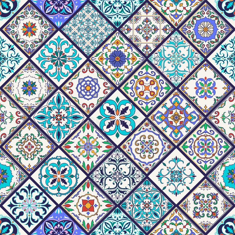 Vector seamless texture. Beautiful mega patchwork pattern for design and fashion with decorative elements. Set of Portuguese tiles, Azulejo, Talavera, Moroccan stock illustration