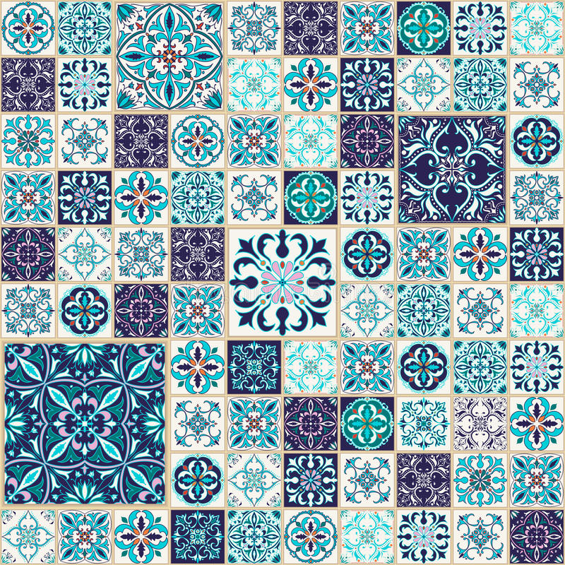 Vector seamless texture. Beautiful patchwork pattern for design and fashion with decorative elements stock illustration