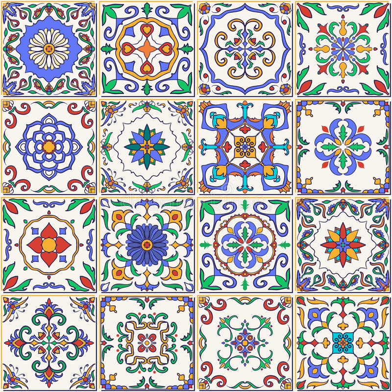 Vector seamless texture. Beautiful patchwork pattern for design and fashion with decorative elements. Set of Portuguese tiles, Azulejo, Talavera, Moroccan stock illustration
