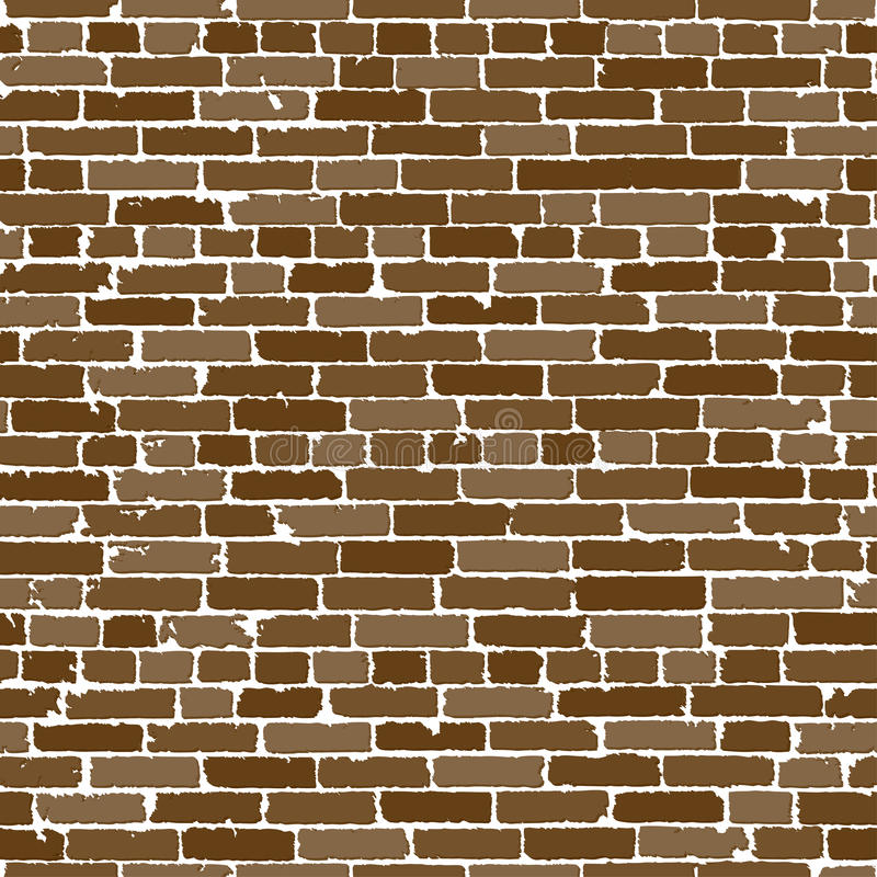Vector seamless texture of brown realistic old brick wall with shadows royalty free illustration