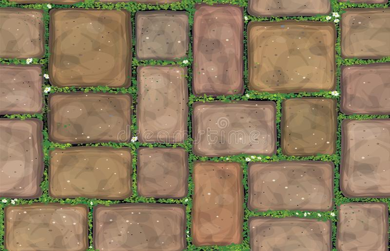 Vector seamless texture brown stones. Vector seamless texture brown stones pavement covered grass stock illustration