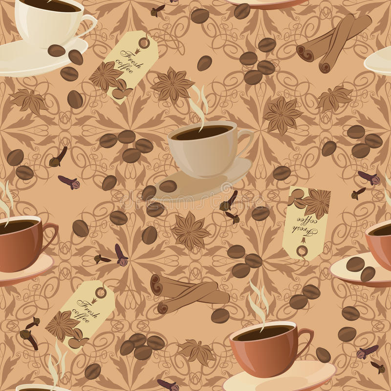 Vector seamless texture on a coffee theme. royalty free illustration
