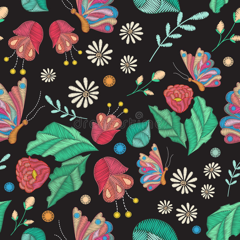 Vector seamless texture with embroidery design. Colored floral pattern with decorative embroidered flowers, leaves and butterfly vector illustration