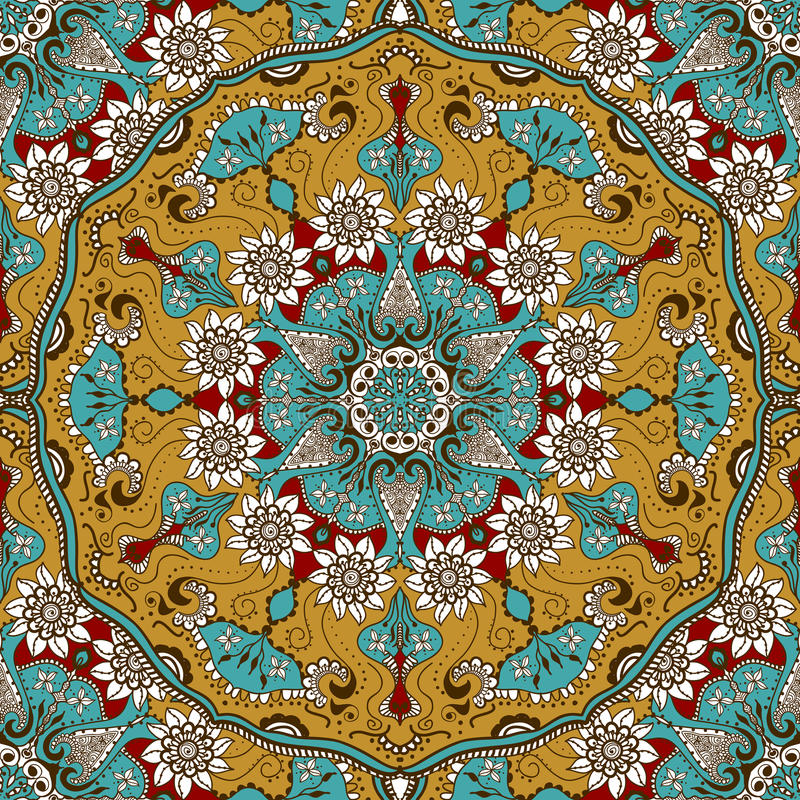 Vector seamless texture with floral mandala in indian style. Mehndi ornamental background vector illustration