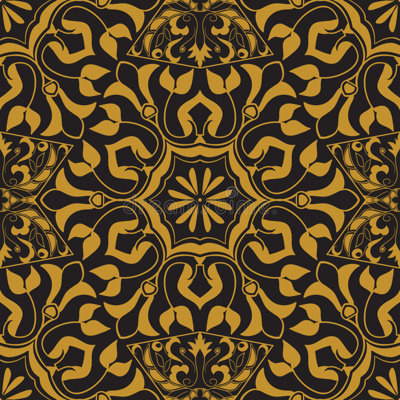 Vector seamless texture. Golden vintage pattern on black background. Arabesque and floral ornaments vector illustration