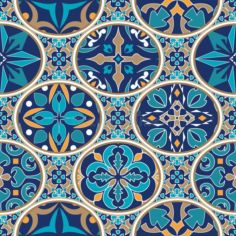 Vector seamless texture. Mosaic patchwork ornament with oval elements. Portuguese azulejos decorative pattern. Ornamental square design in oriental style royalty free illustration