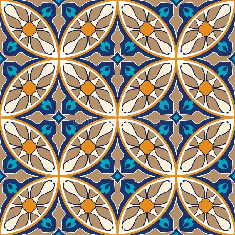 Vector seamless texture. Mosaic patchwork ornament. Portuguese azulejos decorative pattern stock illustration