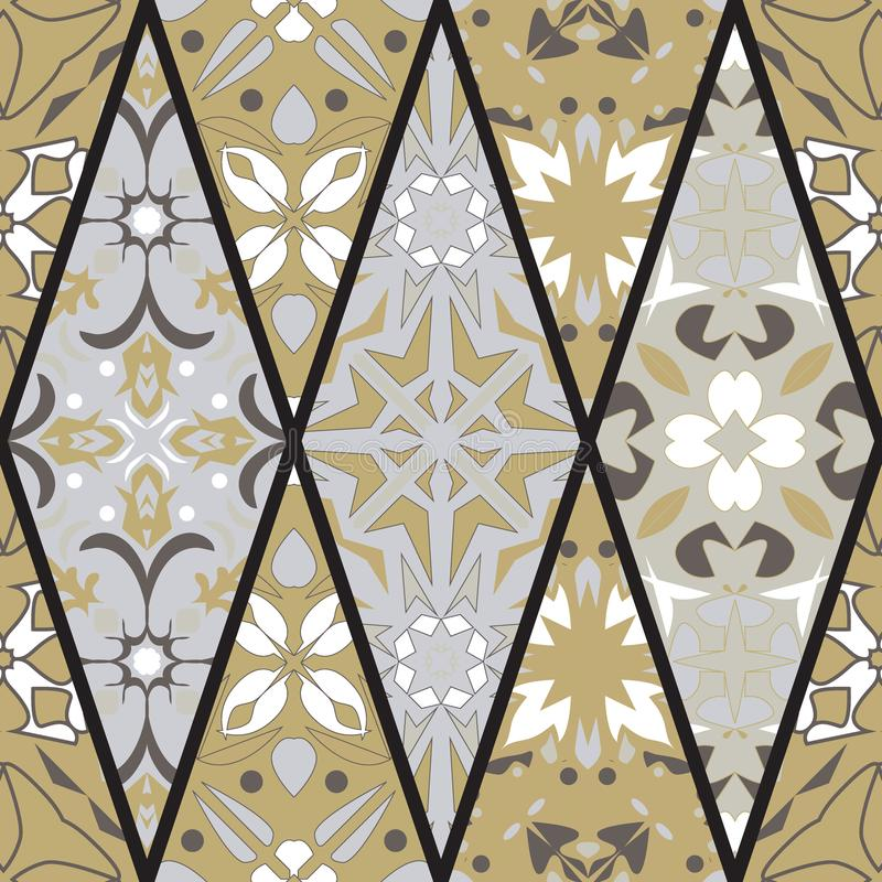 Vector seamless texture. Mosaic patchwork ornament with rhombus elements. Portuguese azulejos decorative pattern stock illustration