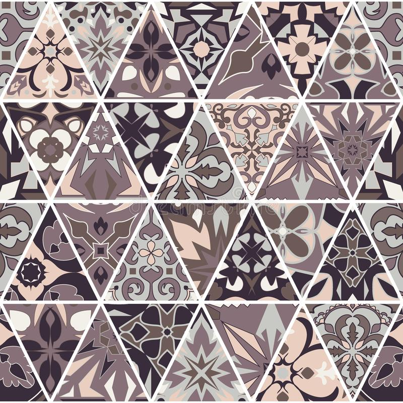 Vector seamless texture. Mosaic patchwork ornament with triangle elements. Portuguese azulejos decorative pattern stock illustration