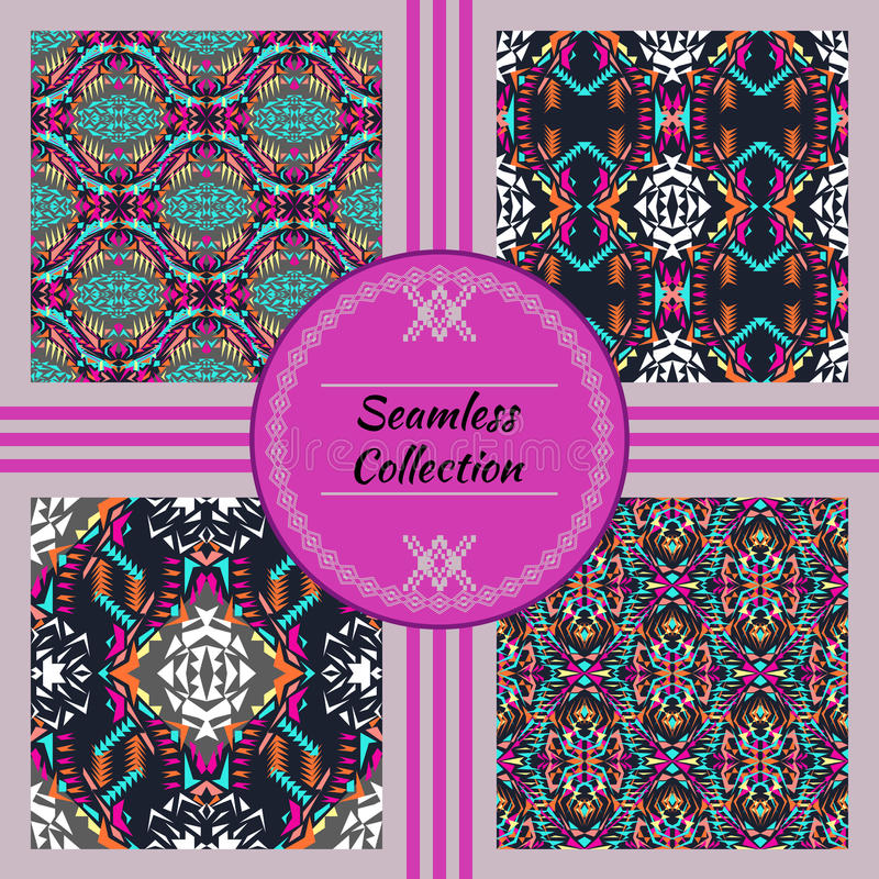 Free Vector Seamless Texture. Set Of Tribal Colorful Patterns For Design. Electro Boho Color Trend. Aztec Ornamental Style Royalty Free Stock Photos - 71499278
