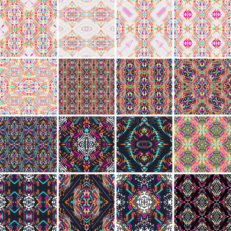 Free Vector Seamless Texture. Set Of Tribal Colorful Patterns For Design. Electro Boho Color Trend. Aztec Ornamental Style. Stock Image - 71962961