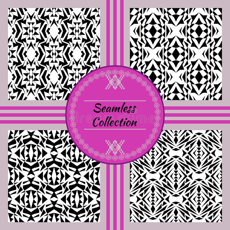 Vector seamless texture. Set of tribal black and white decorative patterns for design. Aztec ornamental style vector illustration