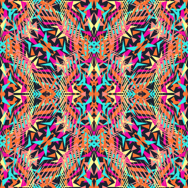 Free Vector Seamless Texture. Tribal Geometric Pattern. Electro Boho Color Trend. Aztec Ornamental Style Royalty Free Stock Photos - 69338668