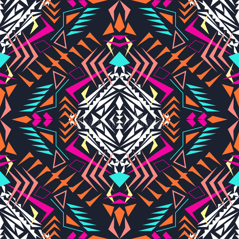 Free Vector Seamless Texture. Tribal Geometric Pattern. Electro Boho Color Trend. Aztec Ornamental Style Stock Image - 69760681