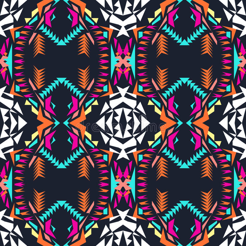 Free Vector Seamless Texture. Tribal Geometric Pattern. Electro Boho Color Trend. Aztec Ornamental Style Royalty Free Stock Photo - 70876705