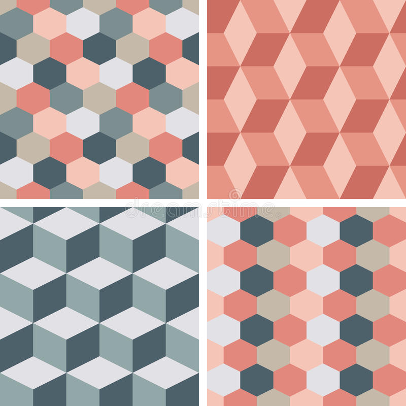 Vector Seamless Tiling Patterns - Geometric Stock Illustration ...
