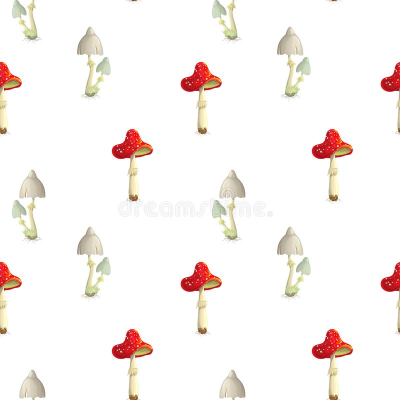 Vector seamless toadstool and fly mushroom pattern on white backdrop. poisonous mushroom background. Fly agaric and toadstool in. Cartoon style template for royalty free illustration