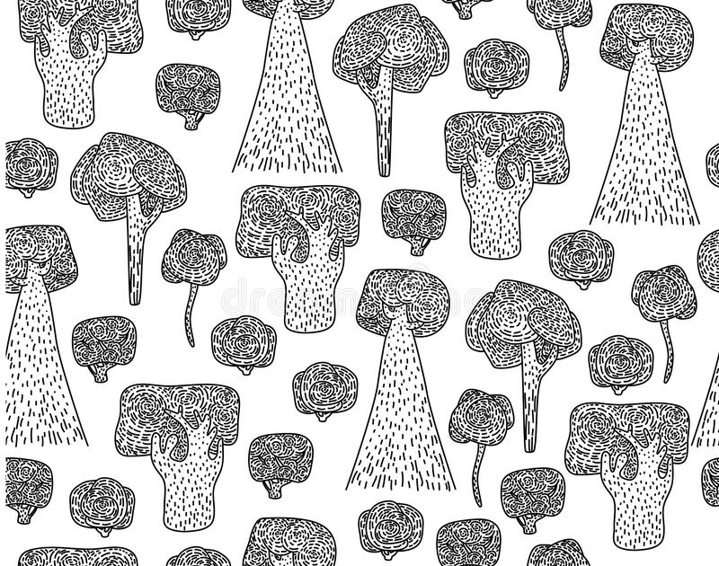 Vector seamless trees pattern, black silhouettes. vector illustration