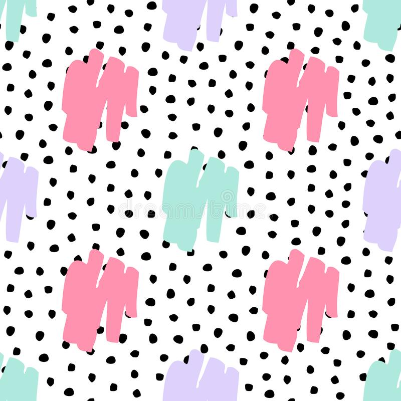 Vector seamless trendy messy geometric and polka dot pattern royalty free illustration