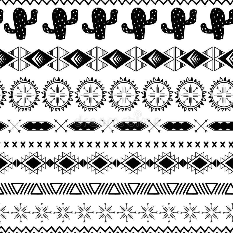 Vector seamless tribal ethnic pattern Aztec abstract background Mexican ornamental texture in black white color. Vector tribal ethnic seamless pattern in black vector illustration