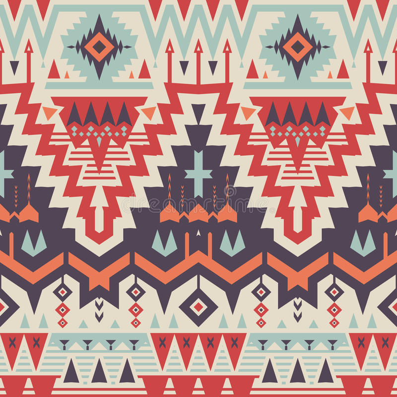 Vector Seamless Tribal Pattern stock illustration