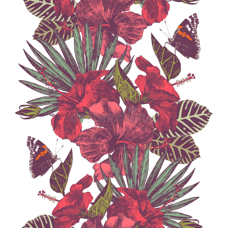 Vector seamless tropical border with hibiscus flowers, leaves and butterflies vector illustration