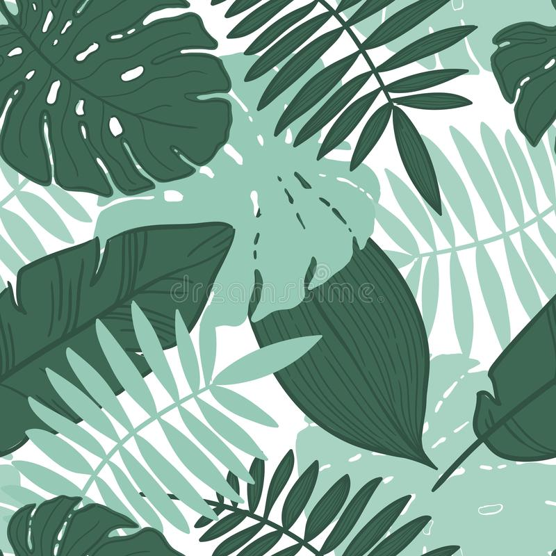 Vector seamless tropical leaves pattern. royalty free illustration