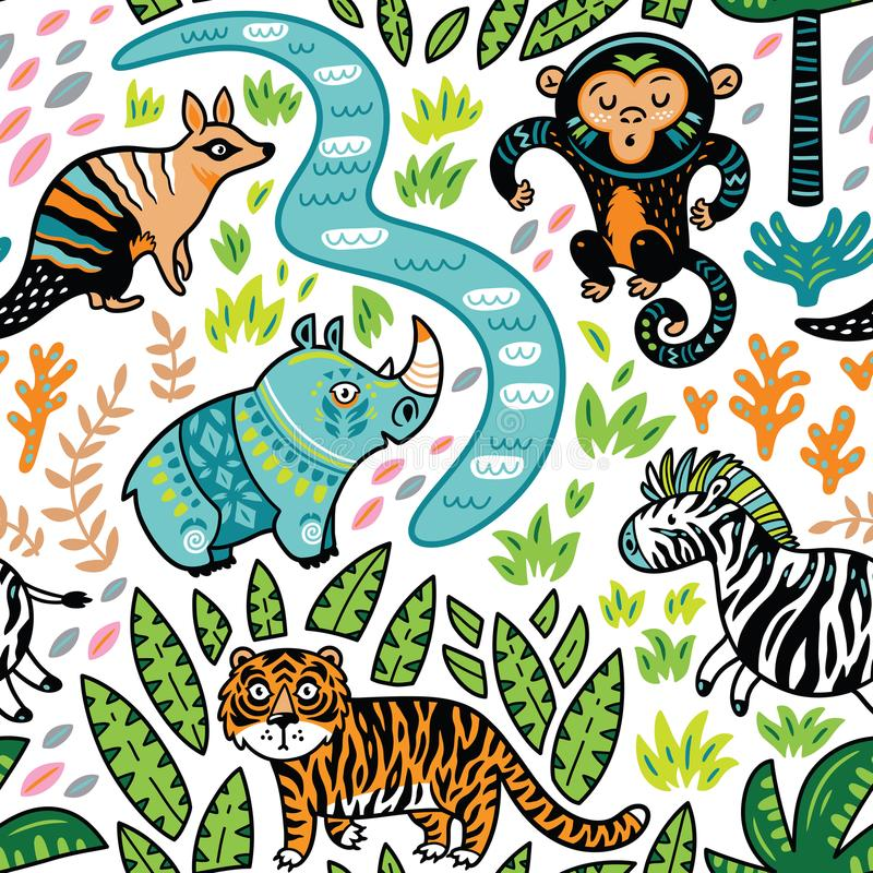 Vector seamless tropical pattern with decorative animal characters stock illustration