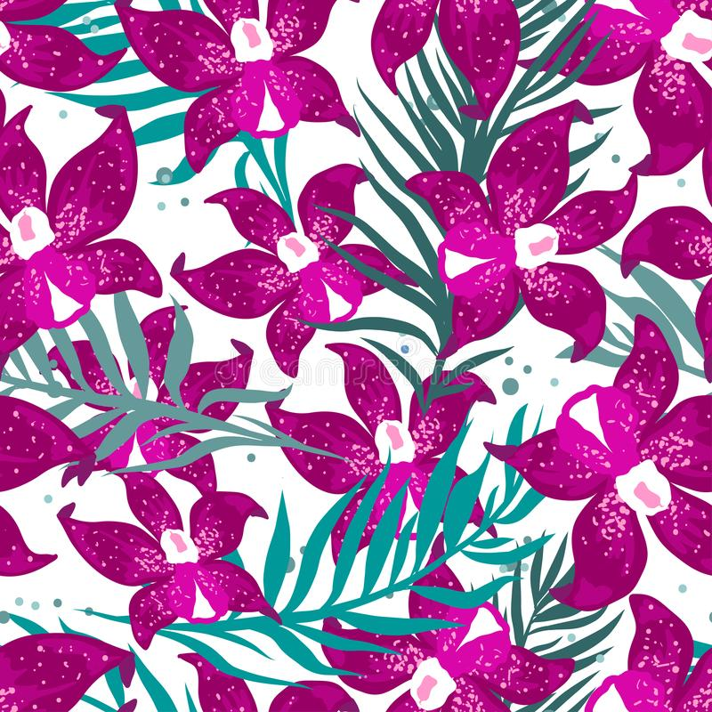 Vector seamless tropical pattern with palm leaves and orchid flowers vector illustration