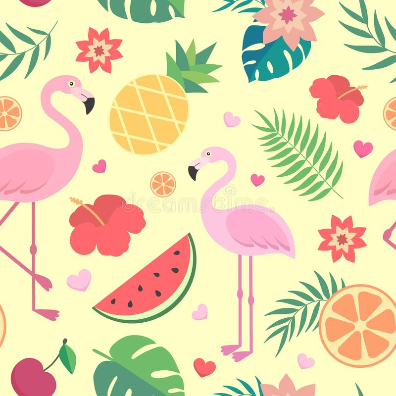 Vector seamless tropical pattern. Palm leaves, pineapple, flamingos, exotic flowers, watermelon, orange. Very bright colorful cute cartoon background wallpaper vector illustration