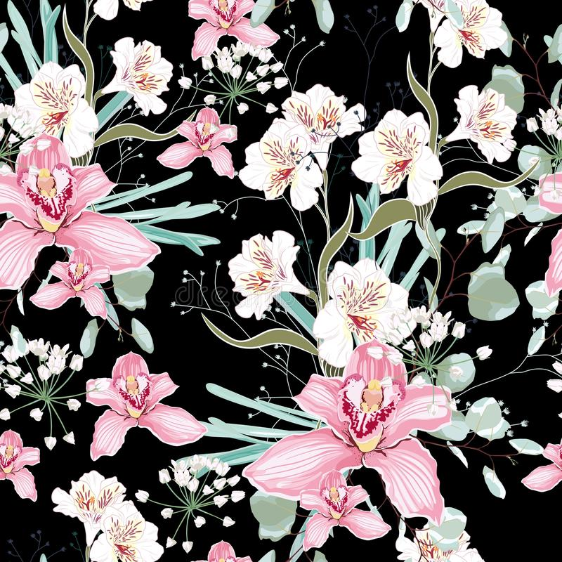 Vector seamless tropical pattern, with paradise orchid flower in bloom. Modern summer spring print design. Dark background vector illustration