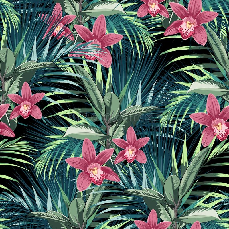 Vector seamless tropical pattern, vivid tropic foliage, with ficus elastica, paradise orchid flower in bloom. And palm leaves. Modern summer spring print design royalty free illustration