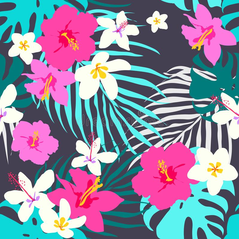 Vector seamless tropical pattern, vivid tropic foliage, with monstera leaf, palm leaves, plumeria flowers, hibiscus in bloom. Mode royalty free illustration