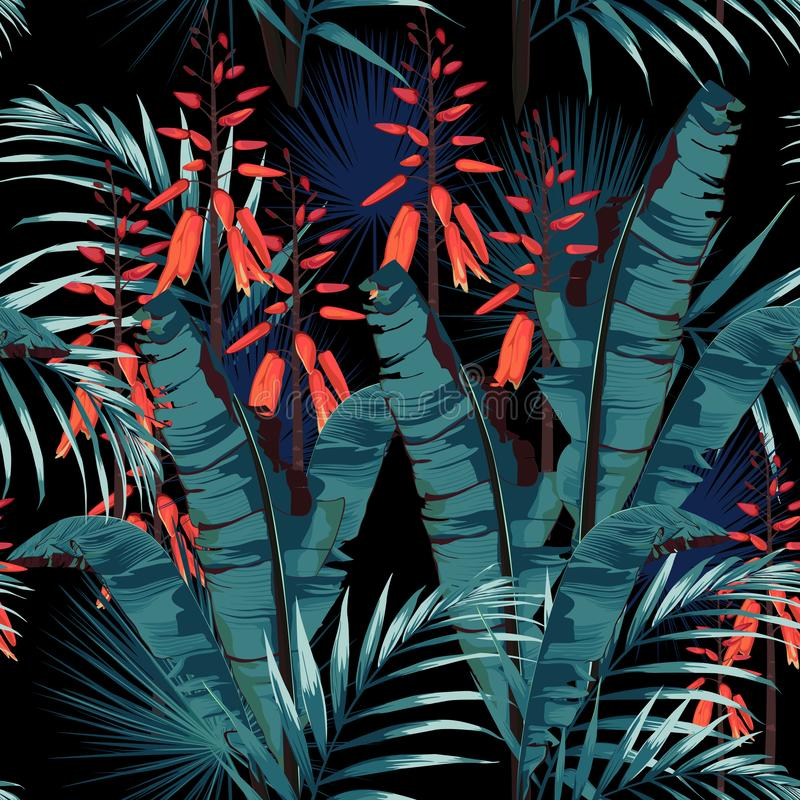 Vector seamless tropical pattern, vivid tropic foliage, with palm bananas leaves, exotic orange flower in bloom. Vintage black background royalty free illustration
