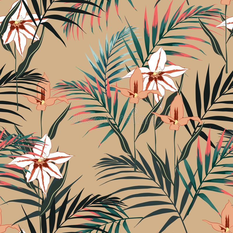 Vector seamless tropical pattern, vivid tropic foliage, with palm leaves, bird of paradise flower, orchid in bloom. Modern bright summer print design. Vintage royalty free illustration