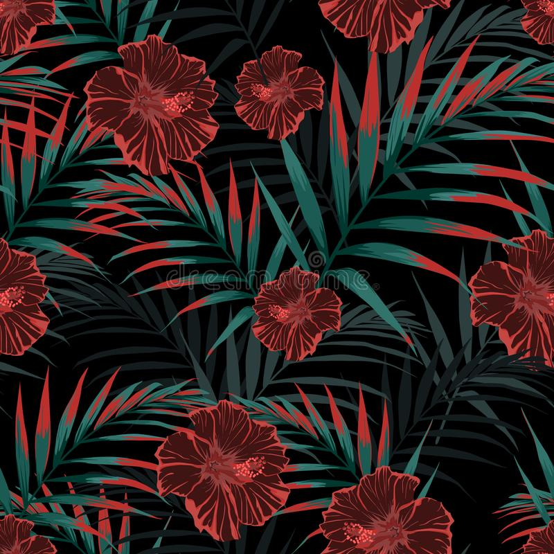 Vector seamless tropical pattern, vivid tropic foliage, with palm leaves, tropical hibiscus flower in bloom. Vintage background. Night tropical backdrop stock illustration