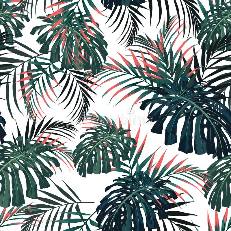 Vector seamless tropical pattern, vivid tropic foliage, with palm monstera leaves. Modern bright summer print design. royalty free illustration