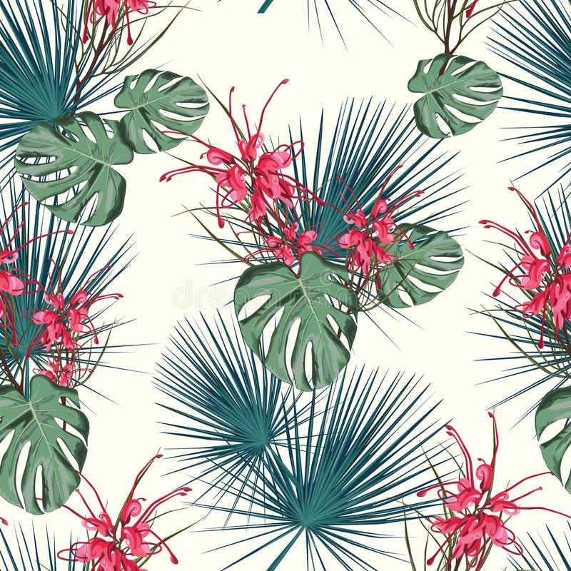 Summer holidays background with tropical flowers and palm leaves. Template Vector. Vector seamless tropical pattern, vivid tropic foliage, with red protea stock illustration