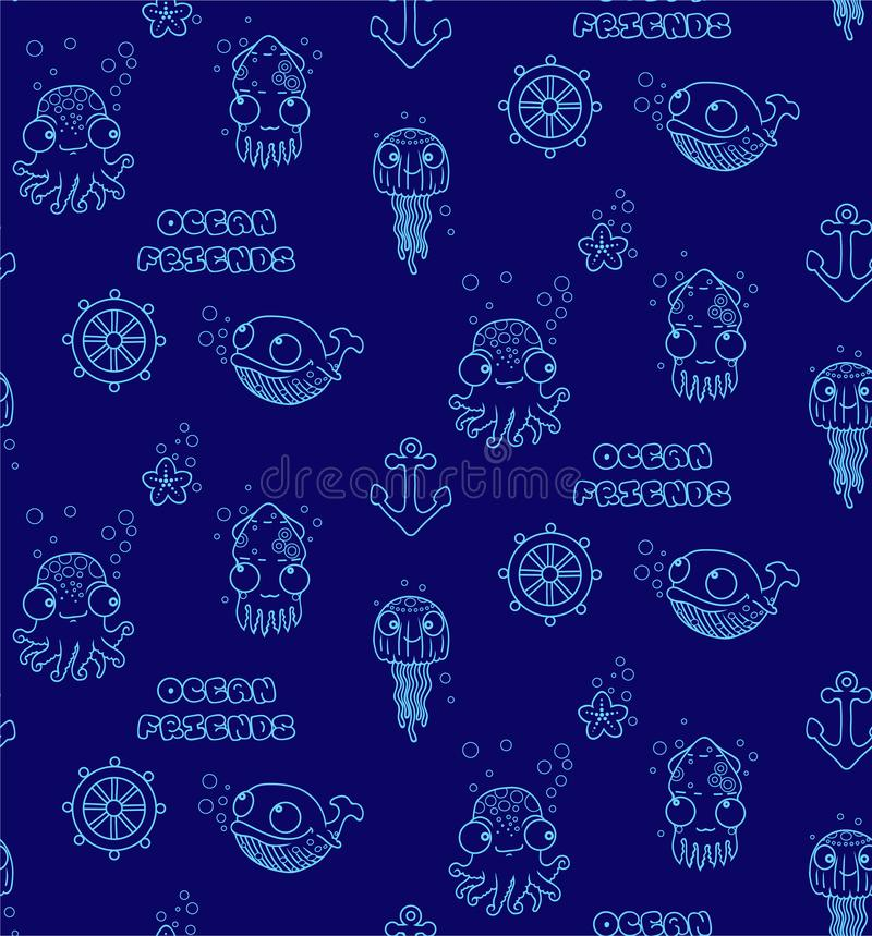 seamless underwater pattern with cute octopus, jellyfish, whale, squid, star, steering wheel, anchor royalty free illustration